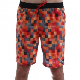 Boardshort QUIKSILVER MINI DYE CHECK Volley 19 orange - rouge - noir