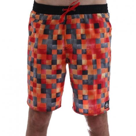 Boardshort QUIKSILVER MINI DYE CHECK Volley 19 orange - rouge - noir