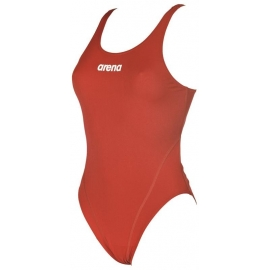 Arena SOLID Swim Tech High - Red White - Maillot Femme Natation