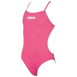 Arena Solid Lightech Junior - Fresia Rose / White - Maillot Fille Natation