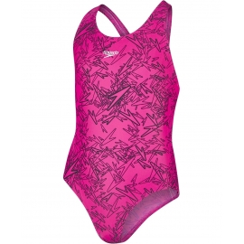 SPEEDO Boom Allover Splashback - Pink Black - Maillot Natation Fille