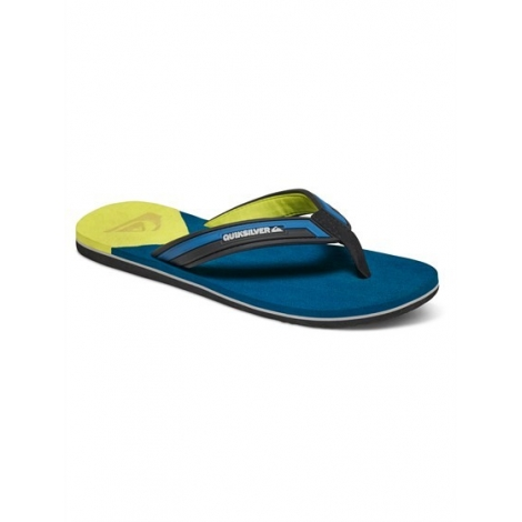Tongs Quiksilver Junior Molokai New Wave Deluxe Youth Blue Yellow XBYB