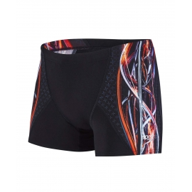 SPEEDO Placement Digital V Aquashort - Black / Hot Orange / Vita Grey
