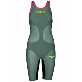 ARENA Carbon Air Closed ( Dos Fermé) Dark Green Fluo Red - Combinaison Natation Femme