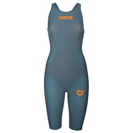 ARENA R-Evo One - Grey Bright Orange - Dos Ouvert - Combinaison Natation Femme