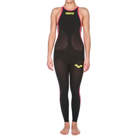 ARENA Powerskin Femme Open Water R-Evo Full Body - Open Back - Black Fluo Yellow
