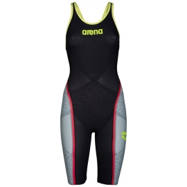 ARENA Carbon Ultra - Dark Grey Fluo yellow - Combinaison Femme natation Dos Fermé