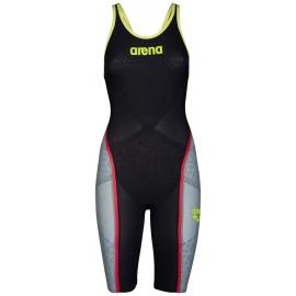 000665536e ARENA Carbon Ultra - Dark Grey Fluo yellow - Combinaison Femme natation Dos  Fermé