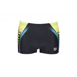 ARENA One Placed Print Short - Black Soft Green - Boxer Natation
