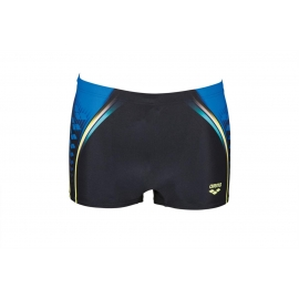 ARENA One Placed Print Short - Black Pix Blue - Boxer Natation