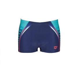 ARENA One Placed Print Short - Navy Fluo Red - Boxer Natation