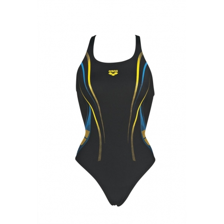 ARENA one poseidon - Black lily yellow - Maillot Natation 1 pièce