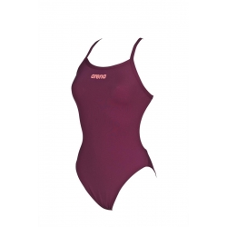 Arena SOLID Light Tech High Red Wine - Shiny Pink - Maillot Femme Natation