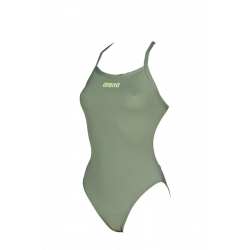 Arena SOLID Light Tech High - Army Shiny Green - Maillot Femme Natation 1 piece