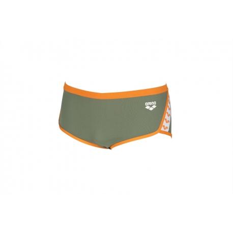 Arena Team Stripe Low Waist Short - Army Tangerine - Boxer Natation Homme