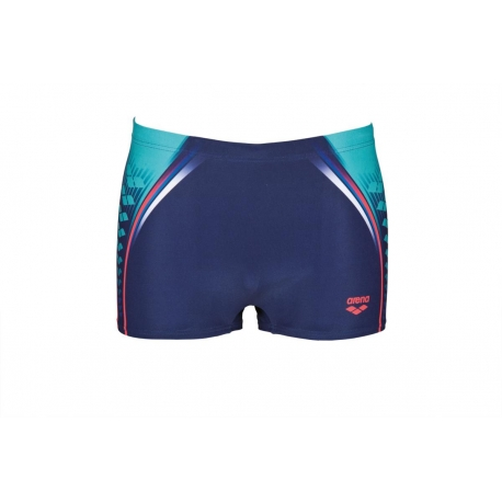 ONE PLACED PRINT SHORT NAVY-FLUO RED - Aquashort Natation Homme