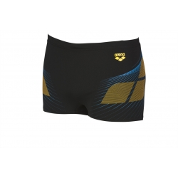 ARENA ONE POSEIDON SHORT BLACK-LILY YELLOW - Aquashort Natation Homme