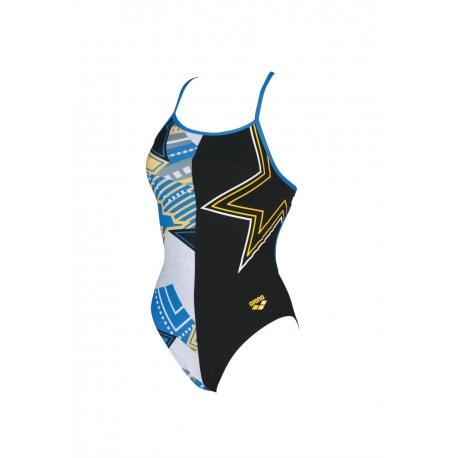 ARENA LIGHTSHOW ACCELERATE BACK ONE PIECE L BLACK-MULTI - Maillot Natation Femme 1 piece