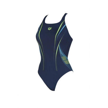 ARENA ARENA ONE POSEIDON ONE PIECE NAVY-SHINY GREEN - Maillot Natation Femme 1 pièce