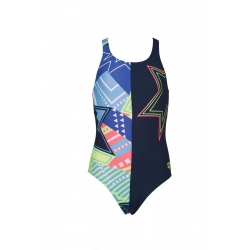 Arena Watchword Lightshow Swim Pro - Navy Multi- Maillot Fille Natation