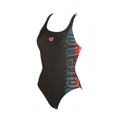 Arena SITAR swim Pro -Black Shiny Pink - Maillot Natation Femme 1 pièce