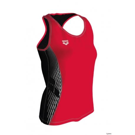 ARENA RUN TANK Top - Fluo Red Black - Débardeur Running Femme