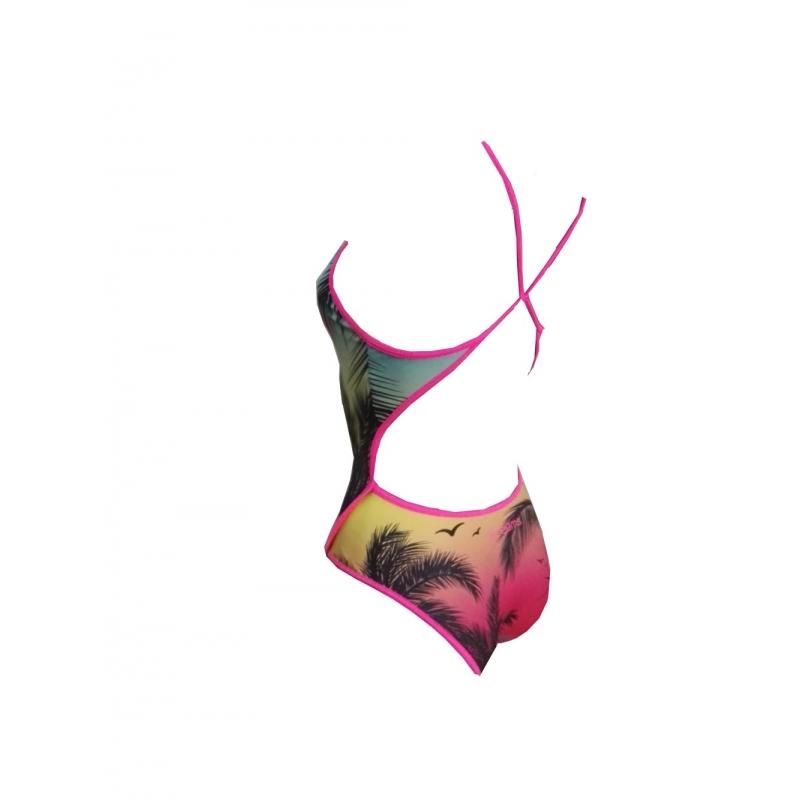 SWEAMS ALOHA YELLOW Maillot femme 1 piece bretelles fines