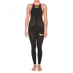 ARENA Powerskin Femme Open Water R-Evo+ Full Body - Closed Back ( Dos Fermé ) - Black Fluo Yellow