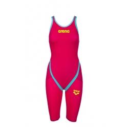 ARENA Carbon Flex VX - Bright Red Turquoise- Combinaison Natation Femme dos ouvert