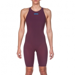 ARENA Powerskin R-EVO ONE Femme - Dos Ouvert - Red Wine Turquoise