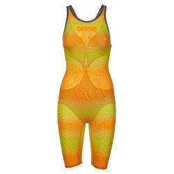 ARENA Powerskin Carbon Air² 2 Femme - Lime Orange - Dos Ouvert - Combinaison Natation