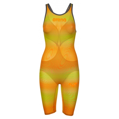 ARENA Powerskin Carbon Air² 2 Femme - Lime Orange - Dos Ouvert - Combinaison Natation