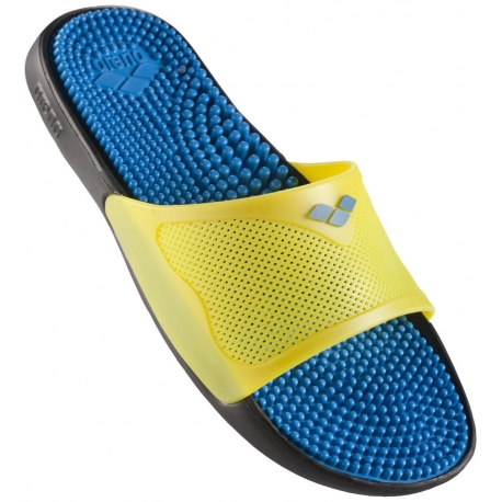 Claquettes Arena MARCO X GRIP BOX HOOK - Solid Black Yellow Turquoise