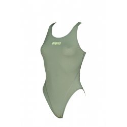 Arena SOLID Swim Tech High - Army Shiny Green - Maillot Natation Femme 1 pièce Vert Kaki