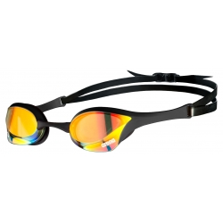 ARENA Cobra Ultra Swipe Mirror - Yellow Copper Black - Lunette Natation Noir Verres Jaunes