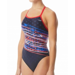 TYR VICTORIOUS Diamonfit - Red white Blue - Maillot Natation femme