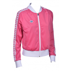 Veste ARENA FEMME W RELAX IV TEAM JACKET - Pink Flambe White - Veste streetwear Rose et blanc