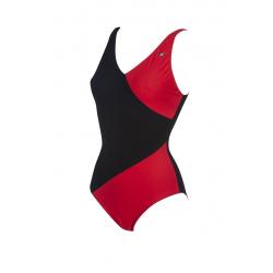 Arena Bodylift AKI Squared Back - Black Red - Maillot Aquagym & Piscine Femme 1 pièce