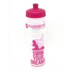 Bidon SWEAMS Swim your dreams - 750ml - Clear Pink