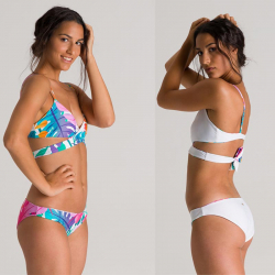 Arena Triangle 2 pieces Reversible - Pink Flambe Multi White - Maillot de bain 2 pièces