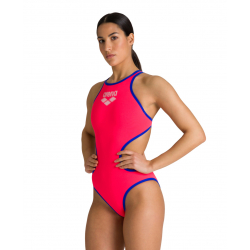 ARENA One Biglogo - Fluo Red Neon Blue - Maillot Natation Femme 1 piece