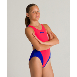 ARENA Solid swim tech Junior Fluo Red Neon Blue
