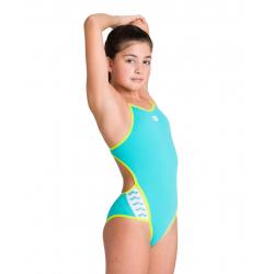 Arena TEAM STRIPE (6-14ans) Junior Mint Soft Green- Super Fly Back - Maillot Fille Natation
