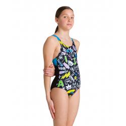 Arena PLAYFUL (6-14ans) Junior - Swim Pro Back - Black turquoise- Maillot Fille Natation