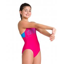 Arena SPOTLIGHT (6-14ans) Junior - Swim Pro Back - Freak Rose Turquoise - Maillot Fille Natation