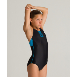 Arena BASICS (6-14ans) Junior - Swim Pro Back -Black Turquoise - Maillot Fille Natation