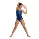 Arena TEAM PAINT STRIPES - Light Drop Back - Navy Multi Turquoise - Maillot Natation Femme 1 piece
