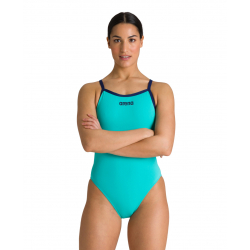 ARENA SOLID Lightech High Mint Navy - Maillot Femme 1 piece