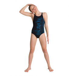 Arena LITTLE STARS Junior - V Back - Black Turquoise - Maillot Fille Natation