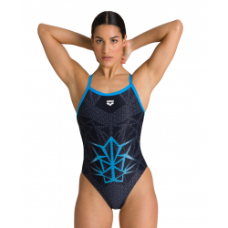 Arena OG Challenge Back - Black Turquoise - Collection Bishamon - Maillot Natation Femme 1 piece